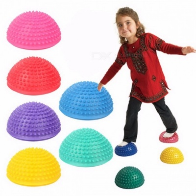 16cm Diameter Inflatable Plum Pile Educational Toy for Kids, Sports Parent-child Interactive Games Semicircle Massage Ball blue