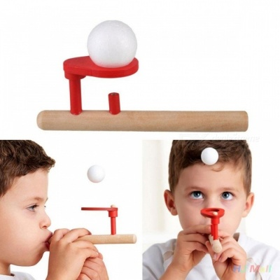 Portable Wooden Blowing Balance Folating Ball Game, Flute Shape Blow Educational Toy for Kids, Children Red