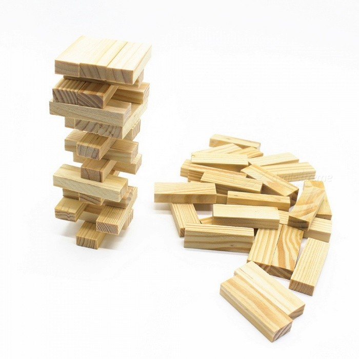 48Pcs Wooden Tower Building Blocks Toy, Domino Stacker Extract Building Educational Jenga Game Gift for Children