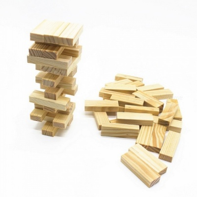 48Pcs Wooden Tower Building Blocks Toy, Domino Stacker Extract Building Educational Jenga Game Gift for Children jenga 48pcs