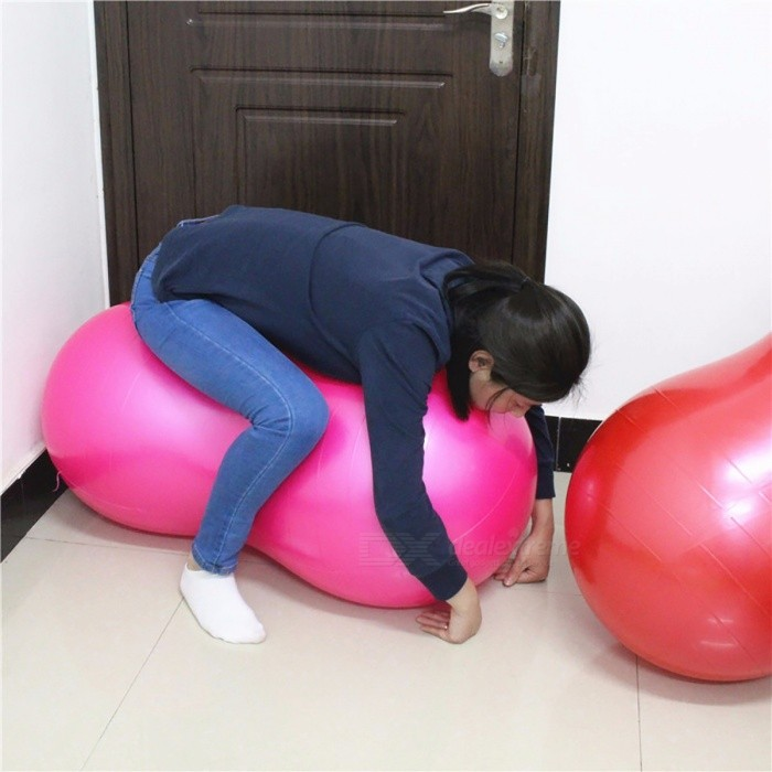 Large 90*45cm Anti-Burst Yoga Ball, Peanut Shape Fitness Exercise Health Sports Gym Durable Pilates Ball