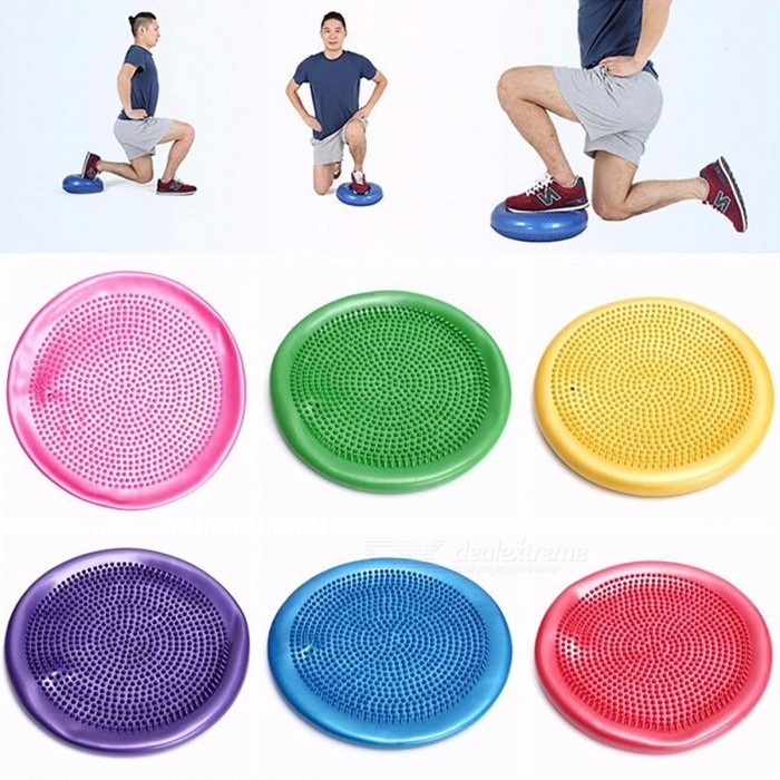 PVC Inflatable Massage Yoga Ball Fitness Cushion Mat, Universal Yoga Wobble Stability Balance Massager Mat with Air Pump