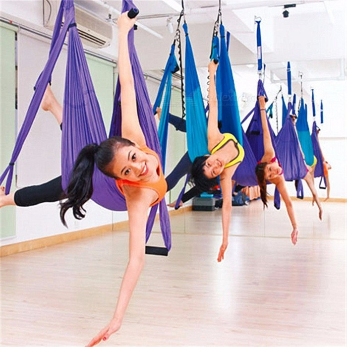 BlueSong Yoga Swing Parachute Fabric Inversion Therapy Anti-gravity High Strength Decompression Hammock for Gym Hanging