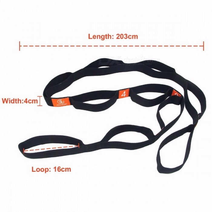 Universal Durable High Elastic Flexible Adjustable Yoga Stretch Strap Band Belts with Multiple Grip Loops