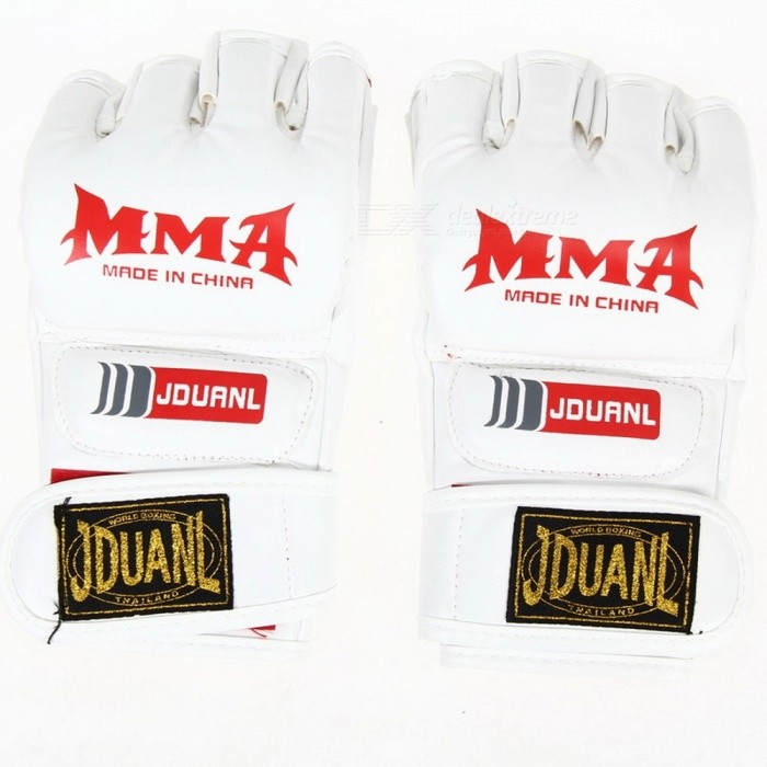 PU Leather Half Finger Fighting MMA Kick Boxing Gloves, Muay Thai Boxing Training Fitness Boxer Fight Equipment for Adults WhiteDescription<br><br><br><br><br>Brand Name: VKTECH<br><br><br>is_customized: Yes<br><br><br><br><br>Applicable People: Male<br><br><br>Weight: Other<br><br><br><br><br><br><br><br><br><br><br>Description:<br>1. Material: PU<br>2. Half mitts gloves, empty palm, with nice flexibilty &amp;amp; prevent sweating when train<br>3. The back of glove and Hook&amp;amp;Loop thicken foam, well protecting wrist<br>4. Designs for MMA or any boxing training<br>5. Adults type, one size fits most, adjustable<br>SizeSize: Approx. 22 X 11 X&amp;nbsp; 2.5cm (L X W X D)&amp;nbsp;<br>