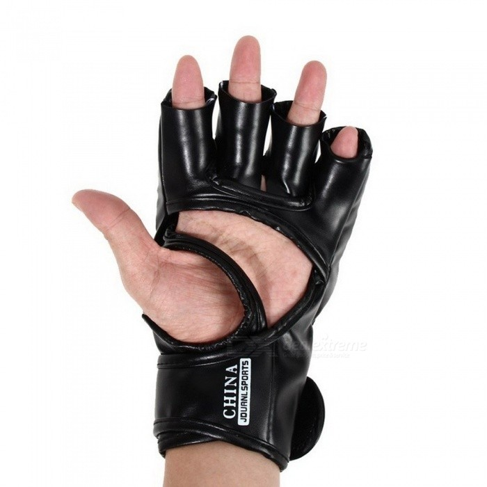 PU Leather Half Finger Fighting MMA Kick Boxing Gloves, Muay Thai Boxing Training Fitness Boxer Fight Equipment for Adults
