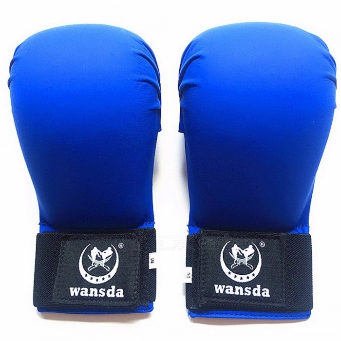 Portable Universal 1 Pair New PU Leather Fighting Fitness Karate Boxing Half Finger Gloves for Women Men Children XL/Blue