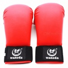 Portable Universal 1 Pair New PU Leather Fighting Fitness Karate Boxing Half Finger Gloves for Women Men Children XL/Red