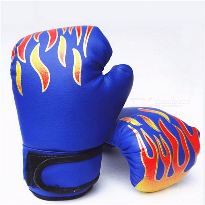 Breathable PU Leather MMA Flame Mesh Palm Boxing Gloves, Professional Sanda Boxing Training Glove for Children