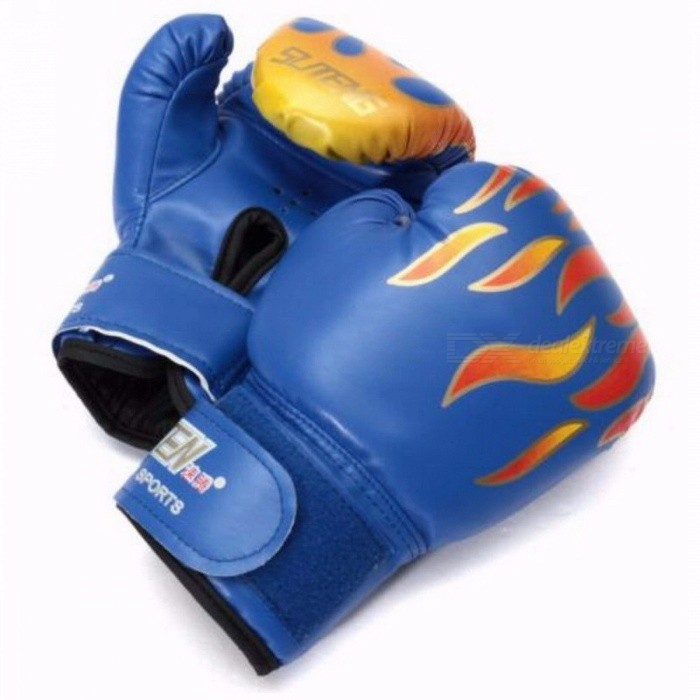 Professional 1 Pair Flame Boxing Gloves Punch for Kids Child Boys Beginner, Sanda Sparring Training Mitts Protector Gloves
