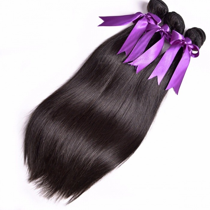 RUIYU Natural Color Peruvian Long Straight Hair Bundles, Double Weft Non Remy Human Hair Weave Extensions