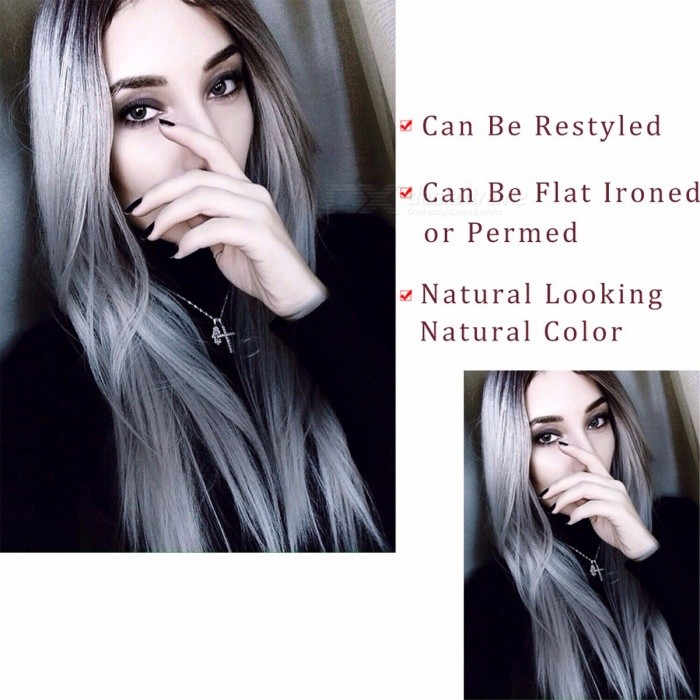 AISI BEAUTY Premium High Temperature Fiber Long Straight False Hair, Synthetic Ombre Wig for Women Girls