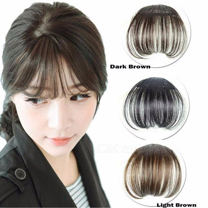 Buy Clip-On Type Front Neat Bang Hair Extension, Fringe Hairpieces False Synthetic Hair Clip for Girls, Women Black and Brown with Litecoins with Free Shipping on Gipsybee.com