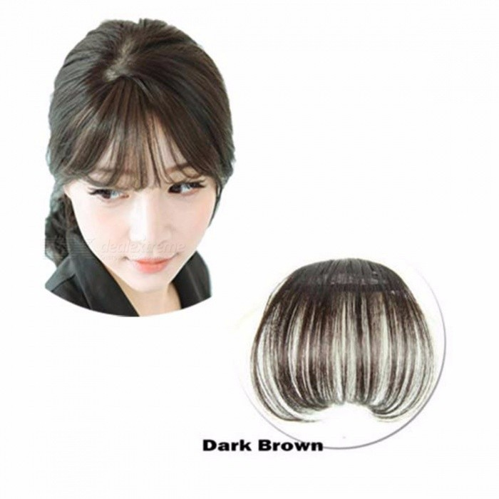 Clip-On Type Front Neat Bang Hair Extension, Fringe Hairpieces False Synthetic Hair Clip for Girls, Women