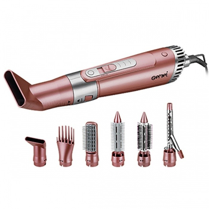 Buy 2200W Professional Hair Dryer Curler Blow Machine with Nozzle Combs Brushes, 7-in-1 Multifunctional Salon Hair Styling Tool Rose Gold with Litecoins with Free Shipping on Gipsybee.com
