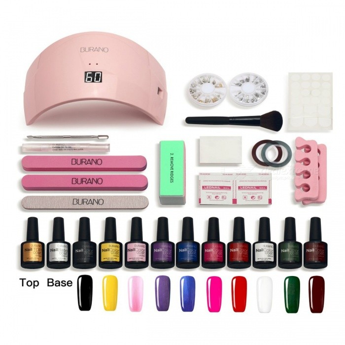 Burano Premium Portable 10-Color UV Gel Polish 36W UV LED Lamp Manicure Nail Care Art DIY Tools Set Kit
