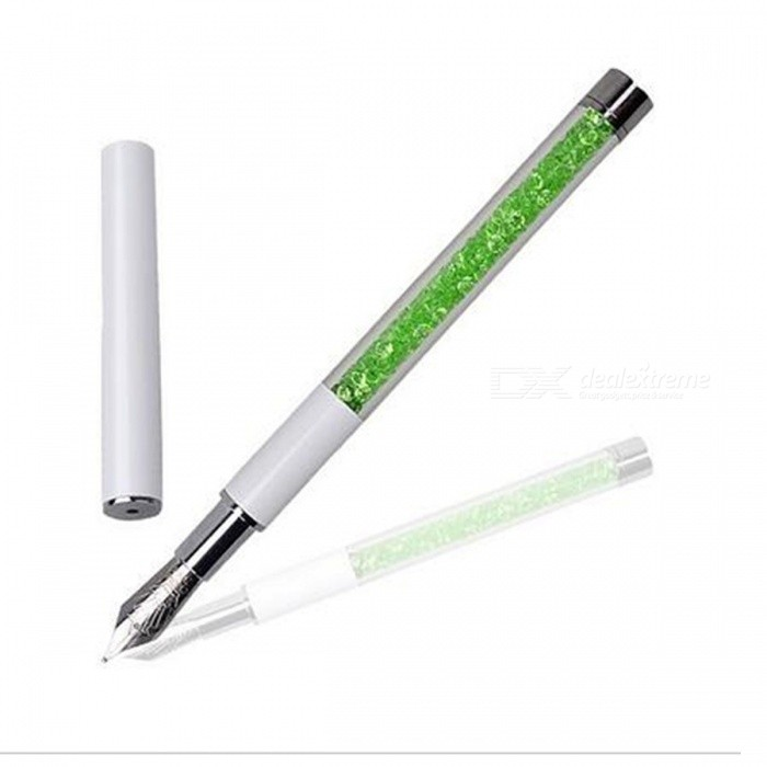 Nail Art Design Pen with 5Pcs Dotting Head Nib Rhinestone Metal Tips, Painting Drawing Line Flower Decoration Manicure Tool