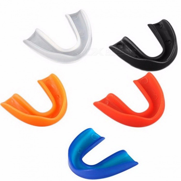Adults Mouthguard Mouth Guard Teeth Protector Protect for Boxing Sports MMA Football Basketball Hockey Karate Muay Thai Safety BlackDescription<br><br><br><br><br>is_customized: Yes<br><br><br><br><br><br><br><br><br><br><br><br><br>Features:<br> This is a 100% brand new mouth guard with excellent quality<br> Dual density structure, softer than other teeth protectors<br> Heating snap-in design, more fit users' tooth form.<br> Groove fit the surface of the teeth, convenient to keep breathing <br>smoothly and does not affect the protective effect of teeth during <br>strenuous exercise.<br> The mouth guard can reach to rear molars, to provide complete protection.<br> ideal for paratrooper, judo, grapple, free combat, ice hockey, rugby football, BJJ, baseball and Muay Thai etc.<br><br><br>&amp;nbsp;<br><br><br>How to use:<br> 1.Put it to cup of warm water (70&amp;nbsp;&amp;nbsp;&amp;nbsp;Degrees Celsius&amp;nbsp;&amp;nbsp;&amp;nbsp;to 80&amp;nbsp;&amp;nbsp;&amp;nbsp;Degrees Celsius&amp;nbsp;&amp;nbsp;) till soft for about 10 seconds.<br> 2.If it is soft, insert it to your upper teeth in mouth.<br> 3.To memorize your mold of teeth, bite it 10~15 seconds.<br> 4.If it is fit to your teeth, clean it with water and use it.<br> 5.If it is not fit to your mouth, you can fix it again from step 1<br> Note: Setting the water temperature of 70-80 degrees is appropriate, soaking time should not exceed 10 seconds<br><br><br>Material: 100% POE<br> Style: Convertible<br> Color: Clear/Blue/Red/ Black/Orange<br><br><br>&amp;nbsp;<br><br><br>Note:<br>The<br> real color of the item may be slightly different from the pictures <br>shown on website caused by many factors such as brightness of your <br>monitor and light brightness.thanks for you understand!<br><br><br>&amp;nbsp;<br><br><br>Package Included:<br> 1x Mouth guard<br> 1x Plastic box<br>