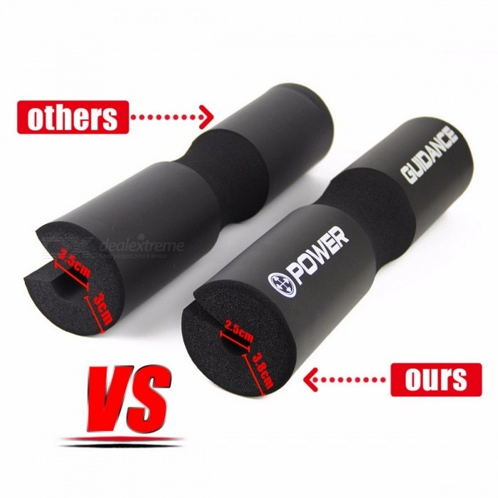POWER GUIDANCE 45 x 9cm Barbell Squat Pad, Weight Lifting Cushioned Neck & Shoulder Protective Pad for Bar, Hip Thrusts