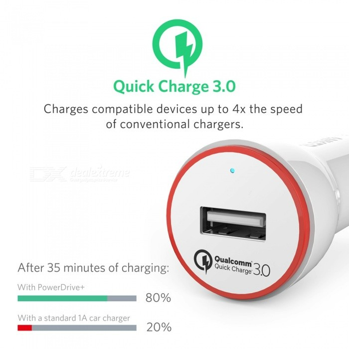 Anker 24W Quick Charge 3.0 USB Car Charger, PowerDrive+ 1 for Galaxy S7 / S6 / Edge / Plus, Note 5 / 4 and PowerIQ for Phones