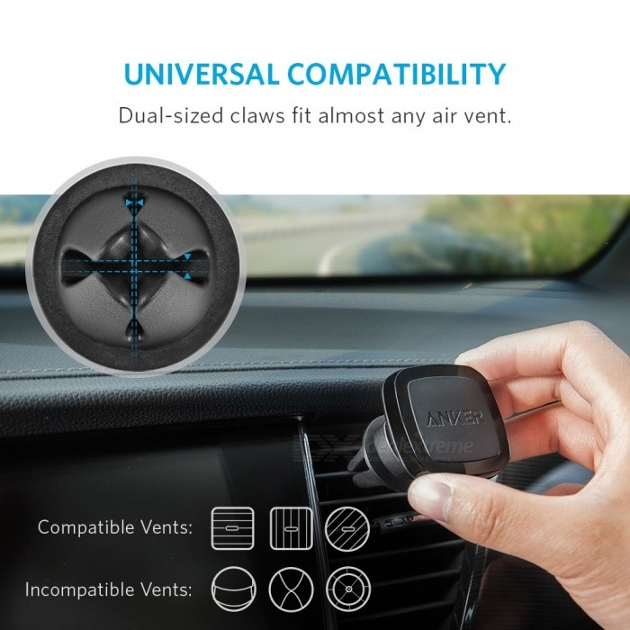 Anker Car Air Vent Magnetic Mount, Highly-Adjustable Phone Holder for IPHONE SE / 6 / 6s / 7, Nexus 5X, Moto E, OnePlus X etc