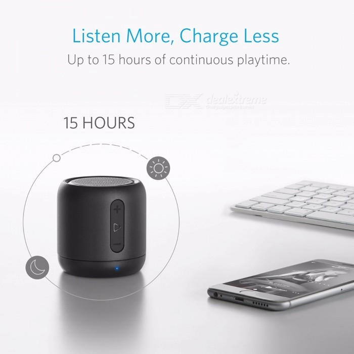 Anker SoundCore Mini Super-Portable Bluetooth Speaker with 15-Hour Playtime, 66-Foot Bluetooth Range, Enhanced Bass Microphone