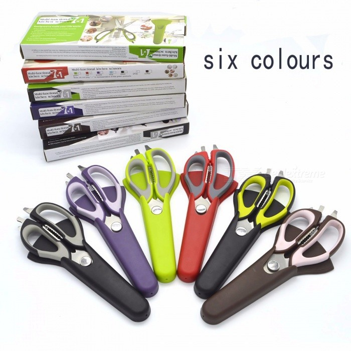 Kitchen Household Stainless Steel Scissors Knife for Fish, Multifunctional Cutter Shear with Magnetic Cover
