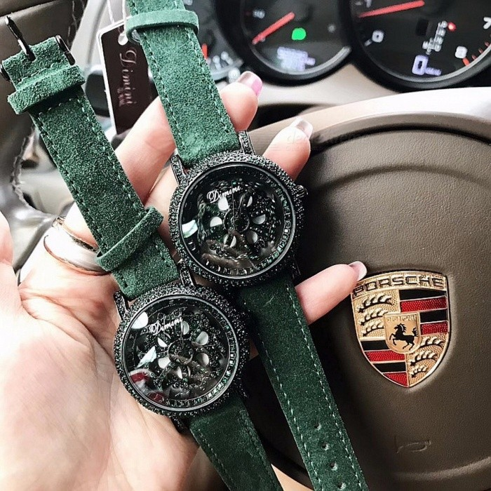 Womens-Luxury-Elegant-Crystal-Wrist-Watch-Fashionable-Plush-Genuine-Leather-Watches-Female-Wristwatches-Green-Green