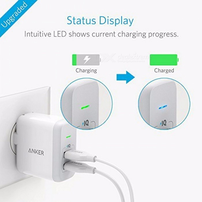 [Upgraded] Anker 24W Dual USB Wall Charger PowerPort 2 (with 2 Ports and Foldable Plug) for iPhone iPad Galaxy Note 5 & More