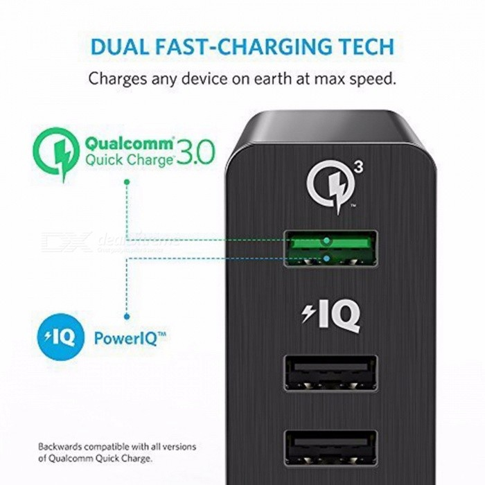 [Quick Charge 3.0] Anker 60W 6-Port USB Charger (Quick Charge 2.0 Compatible) PowerPort+ 6 with PowerIQ for iPhone iPad Galaxy