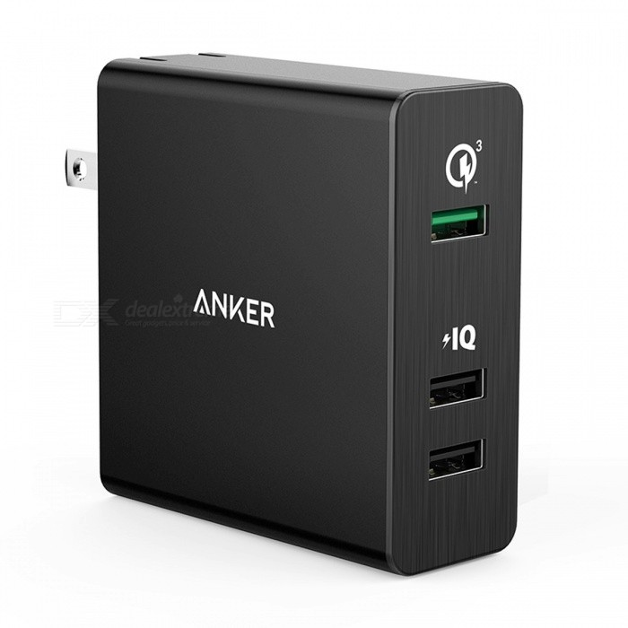 Anker Quick Charge 3.0 42W 3-Port USB Wall Charger, PowerPort+ 3 for Galaxy and PowerIQ for iPhone iPad LG Nexus HTC etc  USBatteries &amp; Chargers<br>Description<br><br><br><br><br>Quality Certification: FCC,RoHS,CE,PSE <br><br><br>Support Quick Charge Technology: Qualcomm Quick Charge 3.0 <br><br><br><br><br>USB Ports: 3 <br><br><br>Brand Name: Anker <br><br><br><br><br>Compatible Brand: Universal <br><br><br>Output: 5V/2.4A <br><br><br><br><br>Type: Travel <br><br><br>Output Interface: USB <br><br><br><br><br><br><br><br><br><br><br><br><br><br>PowerPort+ 3 with Quick Charge 3.0<br><br>The Premium 3-Port USB Wall Charger<br><br><br><br>From ANKER, Americas Leading USB Charging Brand<br><br>; Faster and safer charging with our advanced technology<br><br>; 20 million+ happy users and counting<br><br><br><br>Quick Charge 3.0 Port<br><br>Up<br> to 4x faster than standard chargers, Quick Charge 3.0 is capable of <br>charging compatible devices to 80% in just 35 minutes, leaving you more <br>time for you. Port also has PowerIQ technology to provide the fastest <br>possible charge for all devices.<br><br><br><br>Exclusive Smart-Charging Technology<br><br>PowerIQ in all three ports gives non–Quick Charge devices, their fastest possible charge (up to 2.4A).<br><br><br><br>MultiProtect Safety System<br><br>Surge protection, temperature control and more advanced safety features keep you and your devices safe.<br><br><br><br>Premium Aluminum Plate<br><br>PowerPort+ is premium inside and out. Its front-facing aluminum plating ensures protection and a sleek profile.<br><br><br><br>Quick Charge 3.0 Compatible Devices:<br><br>Samsung Galaxy S7 / S6 / S6 Edge / Edge Plus, Note 5 / Note 4 / Edge<br><br>Google Nexus 6<br><br>Motorola Droid Turbo, Moto X 2014<br><br>Sony Xperia Z4 / Z4 Tablet, Z3 / Z3 Compact / Z3 Tablet Compact<br>LG G5 / G4, LG G Flex2, LG V10<br><br>HTC One A9 / M9 / M8, HTC Desire Eye, HTC One remix<br><br>Xiaomi Mi3, Mi4, Mi Note, and more<br><br>Asus Transfor