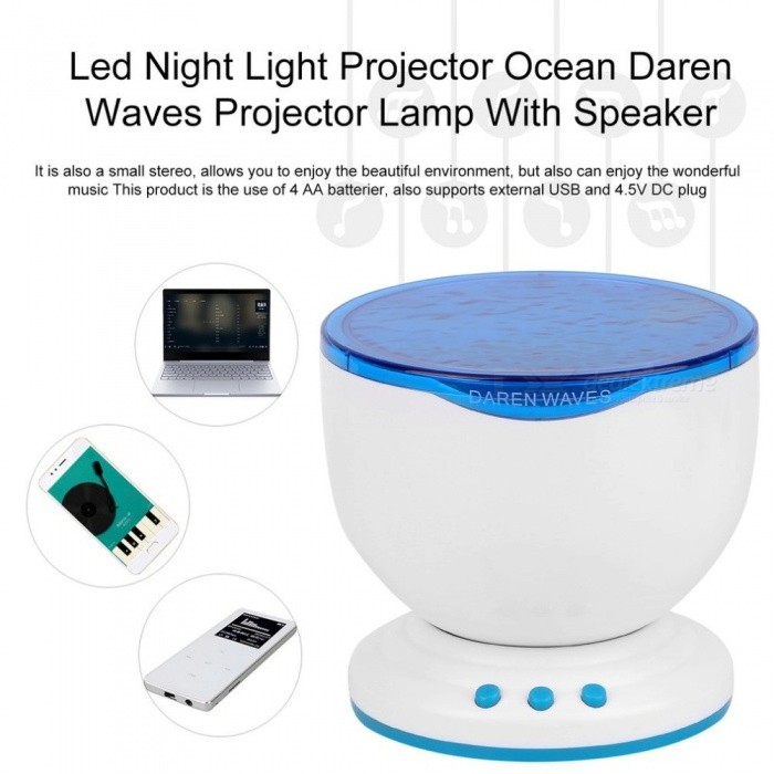 1 Pc Led Night Light Projector Ocean Daren Waves Projector Projection Lamp With Speaker Ocean Waves master Brand New