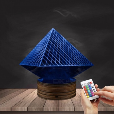 1Piece Egypt Themed 3D illusion Wireframe Lights Egypt Pharaoh Pyramid Anubis Three-Dimensional Light Effect LED Night Lights Red
