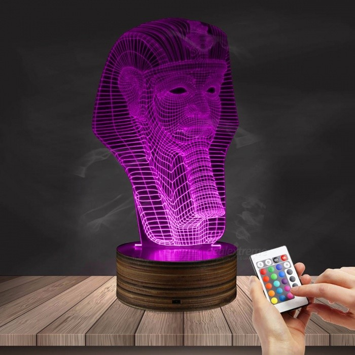 1Piece Egypt Themed 3D illusion Wireframe Lights Egypt Pharaoh Pyramid Anubis Three-Dimensional Light Effect LED Night Lights