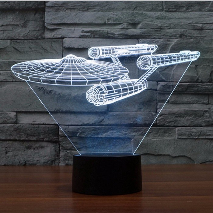 Star Trek USS Enterprise 3D LED Night Light 7 Colors Touch Switch Table Desk Lamp for children baby bedroom gift P22 White LightDescription<br><br><br><br><br>Style: Novelty <br><br><br>Brand Name: Hapeisy <br><br><br><br><br>Is Batteries Included: No <br><br><br>Power Source: Rechargeable Battery <br><br><br><br><br>Is Batteries Required: No <br><br><br>Body Material: ABS <br><br><br><br><br>Light Source: LED Bulbs <br><br><br>Certification: CE <br><br><br><br><br>Voltage: 12V <br><br><br>Usage: Holiday <br><br><br><br><br>Is Bulbs Included: No <br><br><br><br><br><br><br><br><br><br><br><br><br><br><br>Features: <br><br><br>1. Concise and elegant appearance, exquisitely and lovely figure. <br><br><br>2. High quality acrylic lamp pane, high light transmittance. The pattern is engraved by fine laser, 3D Visual effects. <br><br><br>3. LED chip light source, energy saving, eye-protection and no dazzling.  <br><br><br>4. Using electricity convenient, compatible with any USB power making, such as adapter / computer/ car charger / power bank, <br><br><br> also can use 3 AA batteries. <br><br><br>5. Environment friendly, non-thermal radiation, safe and stable, no pollution, green lighting. <br><br><br>6. This night lights has a Long lifespan of more than 50,000 hours. <br><br><br>7.<br> Wide range of application table lamp. It is suitable for decorative <br>lighting, good as festival / birthday / memorial day gift, also it is a <br>novel toy for children. <br><br><br>  <br><br><br>Specification: <br><br><br>Lamp plate material: Acrylic <br><br><br>Base material: ABS <br><br><br>Voltage: 5V <br><br><br>Light color: Red- Green- Blue-Yellow-Cyan-Purple-White (7 colors changeable) <br><br><br>Consumption: 3W <br><br><br>Power supply: By connecting USB interface or using 3 AA batteries. <br><br><br>Lamp plate size: about 130*190mm <br><br><br>Base size: 87*87*43mm <br><br><br><br> <br><br><br>Packing: <br><br><br>1 X 3D visual LED night light <br><br><br>1 X Micro USB <br><br>