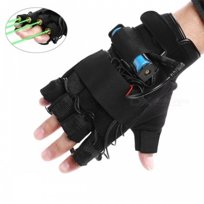 New Arrival 1Pcs Red Green Laser Gloves Dancing Stage Show Light With 4 pcs Lasers and LED Palm Light for DJ Club/Party/Bars Left Hand/EU PLUG/Green