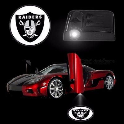 2PCS/Set Car Lights Wireless Sensor LED Welcome Projector Logo Ghost Shadow Lamp Car Door Lamps Battery Operated OAKLAND RAIDERS Black