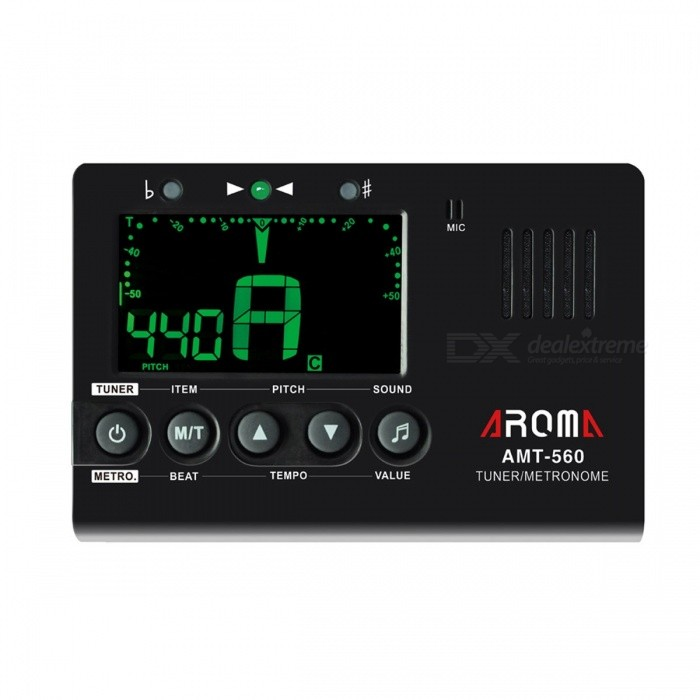 Aroma-AMT-560-Portable-Guitar-Tuner-Metronome-Built-in-Mic-with-Pickup-Cable-for-Guitar-Chromatic-Bass-Violin-Ukulele-Black