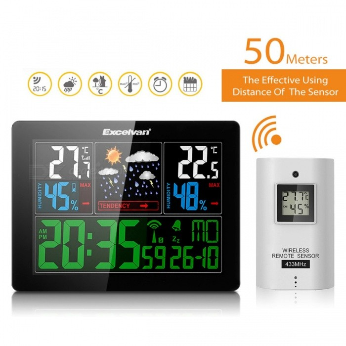 EXCELVAN COLOR Wireless Weather Station With Forecast Temperature Humidity EU Plug Alarm and Snooze Thermometer Hygrometer Clock As ShowedOther Measuring &amp; Analysing Instruments<br>Description<br><br><br><br><br>Style: Standing and Wall Hanging<br><br><br>Max Measuring Temperature: 50°C  - 69°C<br><br><br><br><br>Theory: Temperature Controller<br><br><br>Display Type: Digital<br><br><br><br><br>Brand Name: Excelvan<br><br><br>Display Size: 1.9 Inches &amp;amp; Under<br><br><br><br><br>Usage: Other<br><br><br>Power Type: Other<br><br><br><br><br><br><br><br><br><br><br><br>Notice:This item is only for EUROPE country(not include UK).<br><br><br>Note:<br>This<br> weather station is RRC and EU standard,DCF77 can only be used in <br>European countries,it can only Automatic update time in European <br>countries,and the plug is EU plug.US country cant use normally ,please <br>be attentioned about this.<br><br><br>Features:<br>1.Measure &amp;amp; Display indoor &amp;amp; outdoor temperature and humidity <br>with trend. Temperature Measuring Range: 0 ~ 50°C (indoor) , -20 ~ 60°C <br>(outdoor).<br>2.Five weather icons display: sunny, partly sunny, cloudy, rainy, storm.<br>3.Large LCD display will simultaneous display of time,calendar <br>(available in 7 different languages: German, English, Italian, French, <br>Dutch, Spanish, Danish).&amp;nbsp;&amp;nbsp;&amp;nbsp;&amp;nbsp;&amp;nbsp;&amp;nbsp;&amp;nbsp;&amp;nbsp;&amp;nbsp;&amp;nbsp;&amp;nbsp;&amp;nbsp;&amp;nbsp;&amp;nbsp;&amp;nbsp;&amp;nbsp;&amp;nbsp;&amp;nbsp;&amp;nbsp;&amp;nbsp;&amp;nbsp;&amp;nbsp;&amp;nbsp;&amp;nbsp;&amp;nbsp;&amp;nbsp;&amp;nbsp;&amp;nbsp;&amp;nbsp;&amp;nbsp;&amp;nbsp;&amp;nbsp;&amp;nbsp;&amp;nbsp;&amp;nbsp;&amp;nbsp;&amp;nbsp; &amp;nbsp;<br>4.Colored background illumination LED with long-time lighting backlit connected to the power source.<br><br><br>Specification:<br>Radio controlled clock<br>Indoor/outdoor temperature: 0 °C to 50 °C; -20 °C to 60 °C<br>Temperature increments: 0.1 °C<br>Temperature 