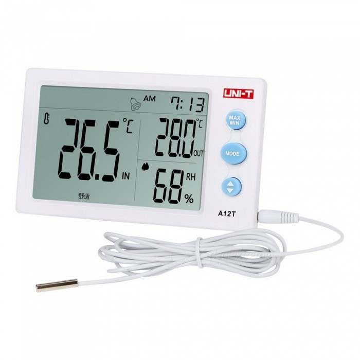UNI-T A12T Digital LCD Thermometer Hygrometer Temperature Humidity Meter, Alarm Clock Weather Station for Indoor / Outdoor whiteOther Measuring &amp; Analysing Instruments<br>Description<br><br><br><br><br>Style: Standing and Wall Hanging<br><br><br>Brand Name: UNI?T<br><br><br><br><br>Max Measuring Temperature: 50°C  - 69°C<br><br><br>Display Size: 4.0 - 6.9 Inches<br><br><br><br><br>Theory: Temperature Controller<br><br><br>Usage: Household<br><br><br><br><br>Display Type: Digital<br><br><br>Power Type: AAA Battery<br><br><br><br><br><br><br><br><br><br><br><br>Main Features<br><br><br>1. Sampling time: 10s<br><br><br>2. Clock function: 12/24 hour mode<br><br><br>3. Alarm function: Rings up to 60s<br><br><br>4. Temperature measurement + Humidity measurement+ Time<br><br><br>5. Temperature testing range: -10?~50?(14?~122?); Accuracy: ±1?(±1.8?)<br><br><br>6. Humidity testing range: 10~99%RH; Precision: ±5%RH<br><br><br>7. Environmental comfort rating: Comfort, wet, dry<br>
