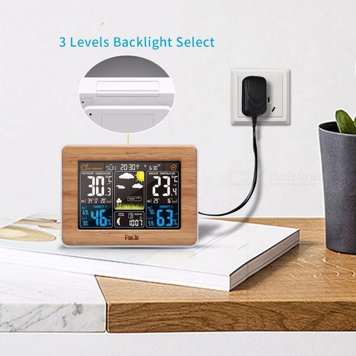 Fanju FJ3365 Multifunctional Clock Weather Station with Alarm and Temperature Humidity Scoreboard Alarm Clock Lunar Phase