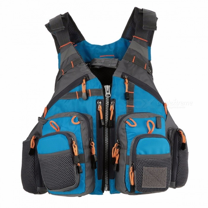 Mens Breathable Swimming Life Jacket, Outdoor Sport Fishing Life Survival Utility Vest, Safety Waistcoat  One Size/BlueDescription<br><br><br><br><br>Brand Name: LIXADA<br><br><br>Feature: Quick Dry<br><br><br><br><br>Material: Polyester<br><br><br><br><br><br><br><br><br><br><br><br>This<br> fishing Life jacket looks more like an outdoor vest with total 11 <br>zippered pockets and multi attachment Ladders and accessory loops on its<br> front and wide reflectors on the back and shoulder. Underneath the <br>exterior it's a fully functional flotation device which is detachable <br>for functioning as a shear fishing gear carrier. And this vest will fit <br>almost any person due to webbed adjustable buckle straps. If your main <br>priority is gear storage, this life vest is one of a kind. It's great <br>for fly fishing, kayak fishing, canoe fishing (pretty much any type of <br>fishing).<br><br>Features:&amp;nbsp;<br> Crafted with a premium ripstop polyester shell and replaceable EPE foam inside for superior buoyancy.<br> Four generous chest pocket, four zipped front pockets, two side mesh pocket, and one generous back pocket in total.<br> Accessory loops and attachment ladders on the chest invite custom attachments.&amp;nbsp;<br> Mesh on the back and mesh fabric inside deliver high breathability.<br> Open sides leave you with more room to paddle, cast or aim on the water.<br> Multi webbed adjustable buckle straps offer a custom fit for almost any person.<br> Reflectors on the back and shoulder exude a professional safety sense for life saving.&amp;nbsp;<br> Great for fly fishing, kayak fishing, canoe fishing (pretty much any type of fishing).<br><br>Specifications:<br> Color: Grey / Green / Red / Blue (Optional)<br> Material: Polyester + EPE foam&amp;nbsp;<br> Max bearing: 95kg / 209.44lb<br> Item flat size: 55 * 46cm / 21.65 * 18.1in<br> Weight: 750g / 1.65lb<br> Package size: 50 * 44 * 10cm / 19.69 * 17.32 * 3.94in<br> Package weight: 780g / 1.71lb<br><br>Package List