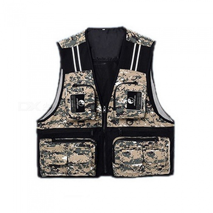Outdoor Sport Mens Fishing Vest Multi Pocket V-neck Waterproof Breathable Director Photojournalist Clothes 4 Colors X/XL/XXL XL/camouflageDescription <br><br><br><br><br>Feature: Waterproof <br><br><br>Material: Polyester <br><br><br><br><br><br><br><br><br>Material: Taslan <br><br><br>Color: red, blue, army green, camouflage <br><br><br>Size: L/XL/XXL <br><br><br>Season: 4 seasons <br><br><br>Features 1: waterproof <br><br><br>Features 2: anti-wear, anti-fade <br><br><br>Features 3: quality zipper <br><br><br>Suitable for: fishing, cycling, and other outdoor activities <br><br><br>Type: fishing vest <br><br><br>Package: 1 x fishing vest <br><br><br><br>Material: Taslan  <br><br><br>Color: red, blue, army green, camouflage, 4 colors as pic for choose<br> Size: L/XL/XXL 3 sizes for choose, pls refer to the size chart below <br><br><br><br><br><br>Size <br><br><br>Shoulder Width(cm) <br><br><br>Waist(cm) <br><br><br>Full Length(cm) <br><br><br><br><br>L <br><br><br>37 <br><br><br>54 <br><br><br>57 <br><br><br><br><br>XL <br><br><br>40 <br><br><br>57 <br><br><br>60 <br><br><br><br><br>XXL <br><br><br>43 <br><br><br>60 <br><br><br>63 <br><br><br><br><br><br>Ps: the datas are collected by human measurement, pls allows 1-3cm error, pls take actual items as standard.  <br><br><br>Season: 4 seasons <br><br><br>Features:  <br><br><br>1. waterproof, breathable fabric, comfortable and durable; <br><br><br>2. anti-wear, anti-fade; <br><br><br>3. multi pocket design, could hold lots of stuffs, serves for multi purpose; <br><br><br>4. reflective strip design, could provide safe outing at night; <br><br><br>5. quality zipper design, smooth and durable, easy to put on and off; <br><br><br>6. suitable for fishing, cycling, and other outdoor activities. <br><br><br>Package: 1 x fishing vest<br>