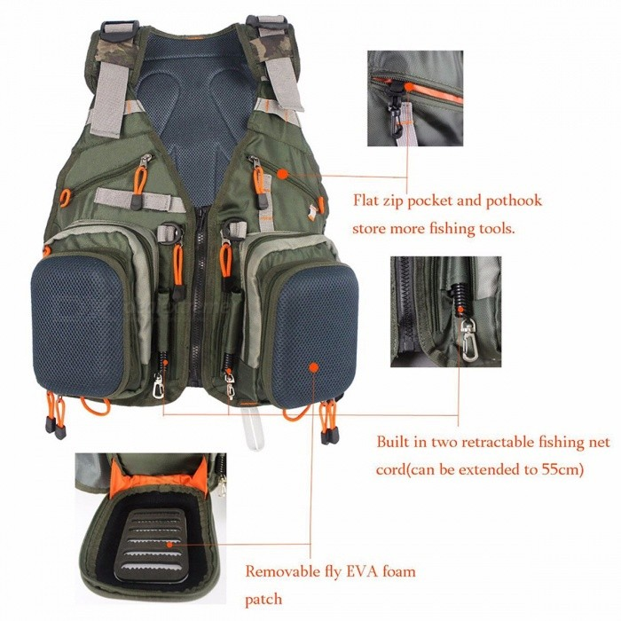 Universal Adjustable Fly Fishing Vest Pack, Multifunction Outdoor Sports Fishing Jacket Backpack with Multi-Pocket Design