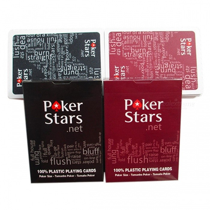Texas Holdem Plastic Playing Card Game Poker Cards Waterproof And Dull Polish Poker Star Board Games K8356 2Sets/Lot 2BlackDescription<br><br><br><br><br>Age: &14 Years <br><br><br>Game Difficulty Level: Primary <br><br><br><br><br>Teaching Mode: Book <br><br><br>Type: Plastic Cards <br><br><br><br><br>Game Length: 31-60 minutes <br><br><br>Material: Plastic <br><br><br><br><br>Maximum Player Number: 10 <br><br><br>Type: Normal <br><br><br><br><br>Brand Name: K8356 <br><br><br>Tabletop Game Product: Card Cover <br><br><br><br><br>is_customized: Yes <br><br><br>Minimum Player Number: 1 <br><br><br><br><br><br><br><br>Feature: <br><br><br>Inspiration: PokerStar <br><br><br>Color: 2 colors (Red/Black). <br><br><br>Body&amp;nbsp;Material: Plastic, safe for&amp;nbsp;human body. <br><br><br>Size: 63mm(2.48inch)*88mm(3.46inch). <br><br><br>Weight: 155g. <br><br><br>Function: Board game / Gift. <br><br><br>Tip: 54 pieces in 1 set (For Texas holdem poker),&amp;nbsp;Dull polish surface, Waterproof material, 0.32mm thickness, high quality card set. <br><br><br>Note: The matte surface feel good. But because the matte surface, repeated use, the product is easy to fade. This product uses new UV technology, it will greatly reduce fade. Note fade is inevitable, we can do is to reduce this. Please understand, thank you!Since the measurement reasons, actually have a little error. Because the light reason, there are some different color in actual products. Please understand, thank you! Enjoy your game~.<br>