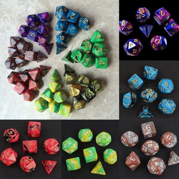 7pcs Dice Set with Nebula Effect Poker D&amp;d D4 D6 D8 D10 D10 D12 D20 Polyhedral TRPG Games Dungeons &amp; Dragons RGP Game Dice purpleDescription<br><br><br><br><br>Type: Dice <br><br><br>is_customized: No <br><br><br><br><br>Category: Digital Dice <br><br><br>Brand Name: TONQUU <br><br><br><br><br><br><br>Specification:<br>100% brand new<br>7pcs dices in one set<br>Show off your gaming skills with these multi sides dices<br>A perfect gift for TRPG game lovers<br>Choice of colours<br>Blue and black/Purple and blue/Gray and Orange/Red and black/Yellow and green/Yellow and black/Green and black<br>Material: resin<br>Package included:<br>1pc x 20 sided dice<br>1pc x 12 sided dice<br>1pc x 10 sided percentage dice<br>1pc x 10 sided dice<br>1pc x 8 sided dice<br>1pc x 6 sided dice<br>1pc x 4 sided dice<br><br>Note: Item color displayed in photos may be showing slightly different on your computer monitor since monitors are not calibrated same.<br>High quality store for you!<br>
