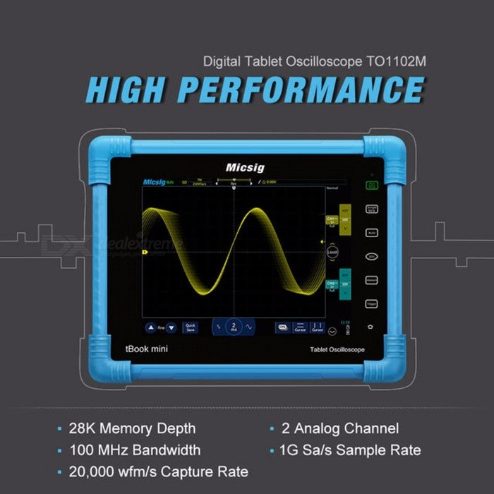 Micsig Digital Tablet Oscilloscope 100MHz 2CH Handheld Portable Oscilloscope Automotive Scopemeter Storage Osciloscopio TO1102M TO1102M Optional 1Oscilloscope &amp; Logic Analyzer<br>Brand Name:Micsig<br><br><br>Display resolution:800*600 Pixels<br><br><br>DIY Supplies:Electrical<br><br><br>Display Size:7 Inches &amp;amp; Above<br><br><br>IS Battery Demountable:Yes<br><br><br>Model Number:TO1102M<br><br><br>Real Time Sampling Rate:1GSa/S<br><br><br>Band Width:100-349MHz<br><br><br>Record Length:28K<br><br><br>Digital Channels:2<br><br><br>Sampling rate:1GSa/s<br><br><br>Display:8 inches,800*600 pixels<br><br><br>Max capture rate:up to 20000wfm/s<br><br><br>Storage:8G<br><br><br>Net Weight:1040g<br><br><br>Bandwidth:100MHz<br><br><br>Channels:2<br><br><br>Dimension:250*210*55mm<br><br><br>oszilloskop:digital-oscilloscope, digital oscillograph<br>