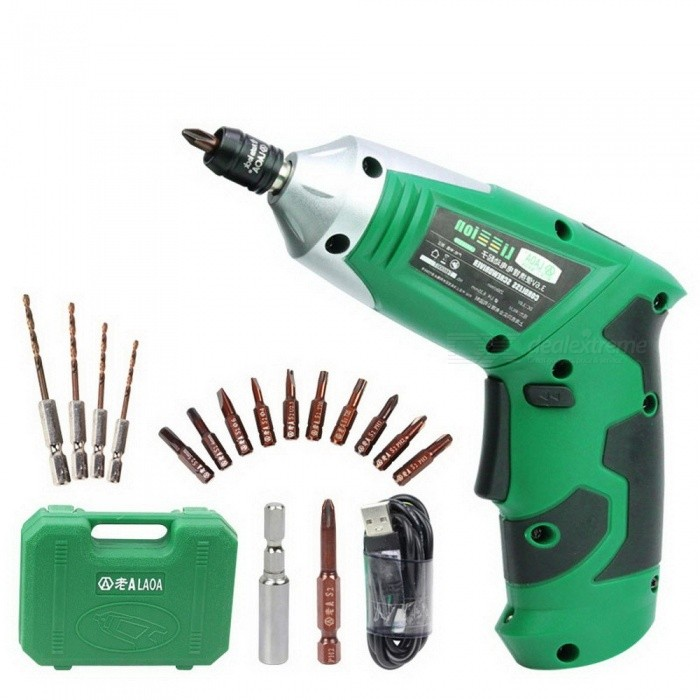 LAOA 3.6V Portable Electric Screwdriver Electric Drill With Chargeable Battery Cordless Drill DIY Power tools with 11 bits