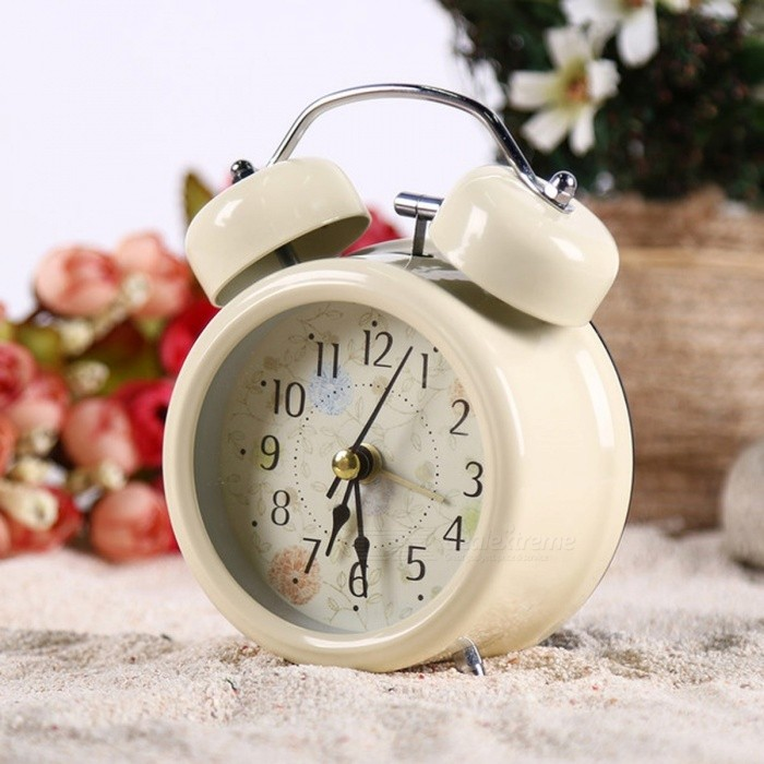 Household Retro Vintage Cool Alarm Clock Round Number Double Bell Desk Table Digital Clock Home Decor White Black