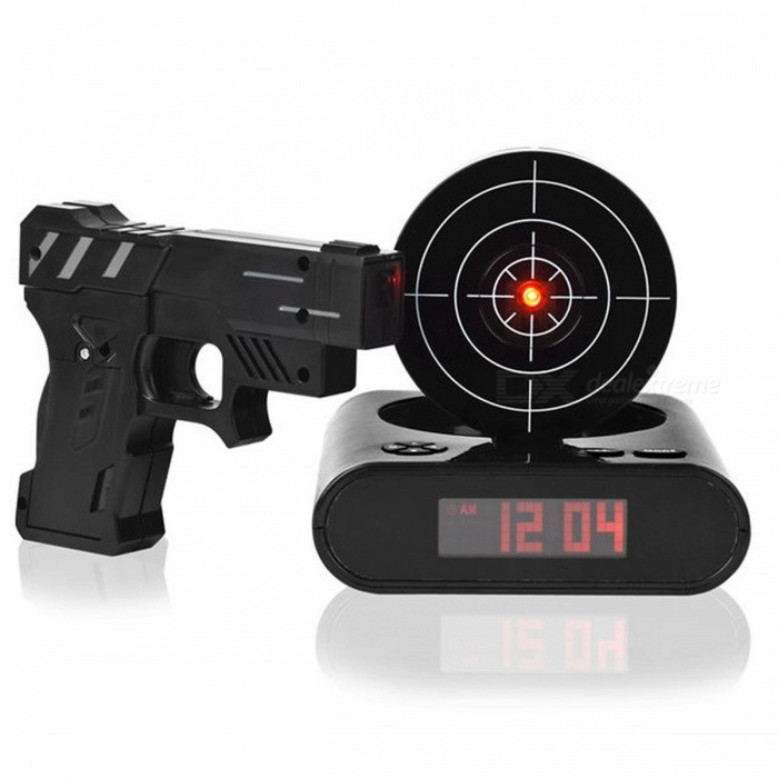 Creative Desk Gadget Target Laser Shooting Gun Alarm Clock LCD Screen Gun Alarm Colck Target Alarm Clock Army Greendesk clock<br>Description<br><br><br><br><br>Type: Alarm Clocks<br><br><br>Style: Europe<br><br><br><br><br>Shape: Square<br><br><br>Screen Type: LED<br><br><br><br><br>Function: Snooze Function<br><br><br>Motivity Type: Digital<br><br><br><br><br>Display Type: Digital<br><br><br>Material: Plastic<br><br><br><br><br>Form: Single Face<br><br><br>Feature: LUMINOVA<br><br><br><br><br><br><br><br><br><br><br><br>Dont want to be late?&amp;nbsp; <br><br><br>Now<br> you must take exercise(What Im saying is not getting up but <br>shooting).Everyone has nightmare about getting up early.You must have <br>felt bored about the monotonous clock ring.Whats worse,you are not <br>sensitive to it anymore even you passed the time.As a result,you will be<br> fined or&amp;nbsp;criticized,&amp;nbsp;etc..How about get up in your favourite songs or rings?<br><br><br>This<br> gun shot clock can meet all of dreams of a boy.You can choose another <br>mode then it will rings again after a while if you still worry about <br>that you cannot get up in time.<br><br><br>Suitable Groups:&amp;nbsp;lazy people,lovers of shooting games,the white-collars and trendsetter,etc.<br><br><br>Suitable Places:&amp;nbsp;Home party<br><br><br>&amp;nbsp;<br><br><br>Gun Shot Clock is your Solution, Your kids will jump out of bed Shoot the target and start the day with a Smile! <br><br><br>&amp;nbsp;<br><br><br>Specifications: <br><br><br>Material:Plastic <br><br><br>Color:The color might be sent Randomly. <br><br><br>Power Supply: Clock: 4 x AA battery (not included); Handgun: 2 x AA battery (not included) Or USB(not Included) <br><br><br>Dimensions: Clock: Approx.14.6 x 13.8 x 4.3 cm; <br><br><br>Handgun: 14.4 x 11.5 x 2.2 cm <br><br><br>Weight: Approx. 540g <br><br><br>&amp;nbsp;<br><br><br>Package Includes: <br><br><br>1 X Clock <br><br><br>1 X Handgun <br><br><br>1 X English Manual<br>